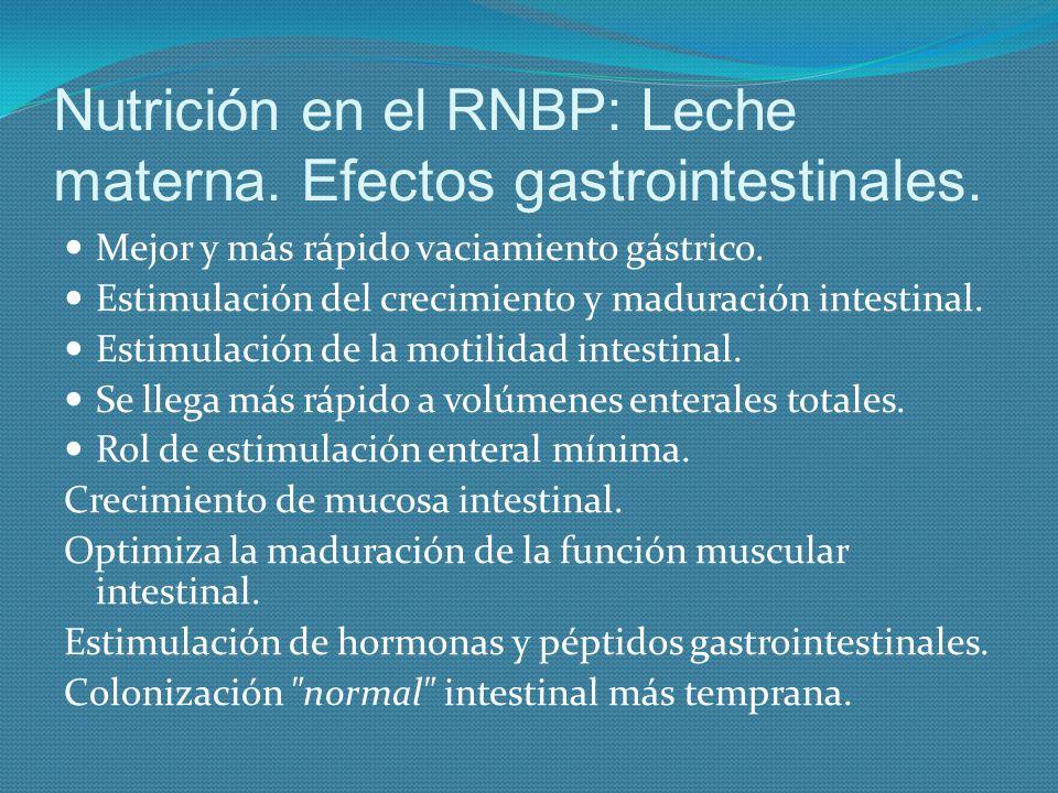 Nutrición en el RNBP: Leche materna. Efectos gastrointestinales.