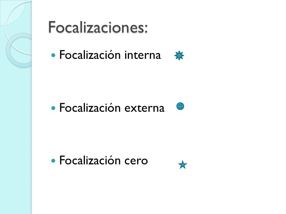Focalizaciones: Focalización interna Focalización externa