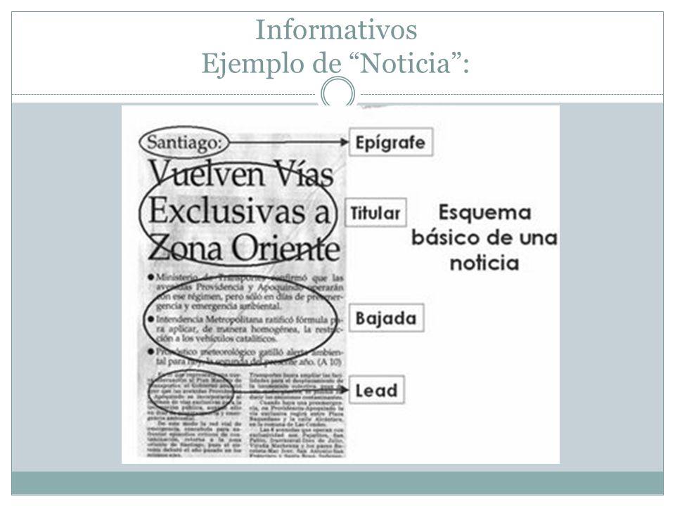 Informativos Ejemplo de Noticia :