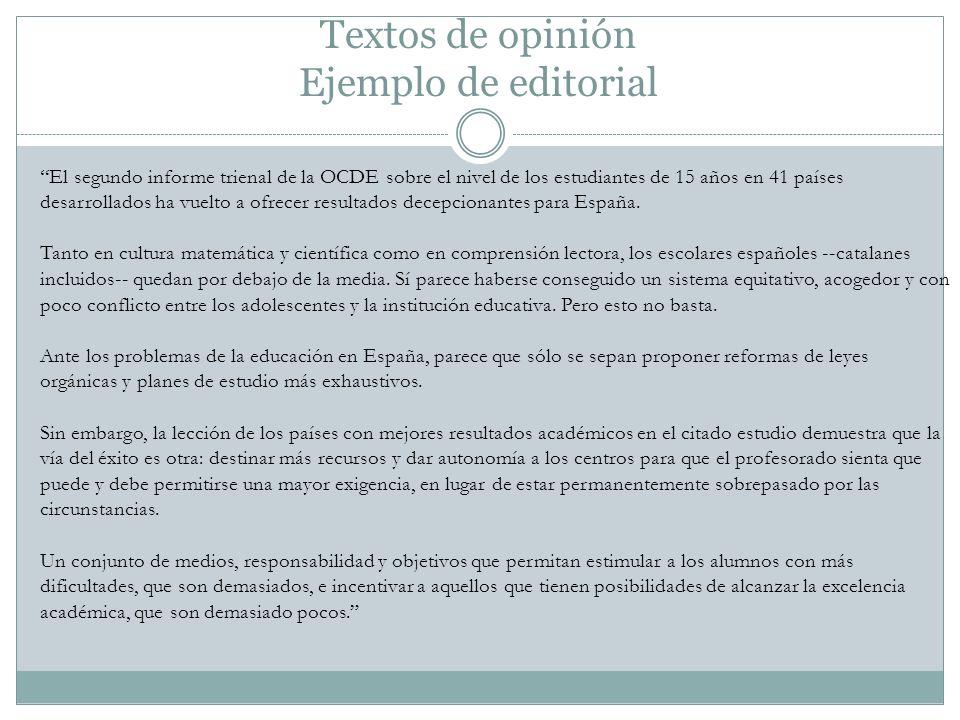 Textos de opinión Ejemplo de editorial