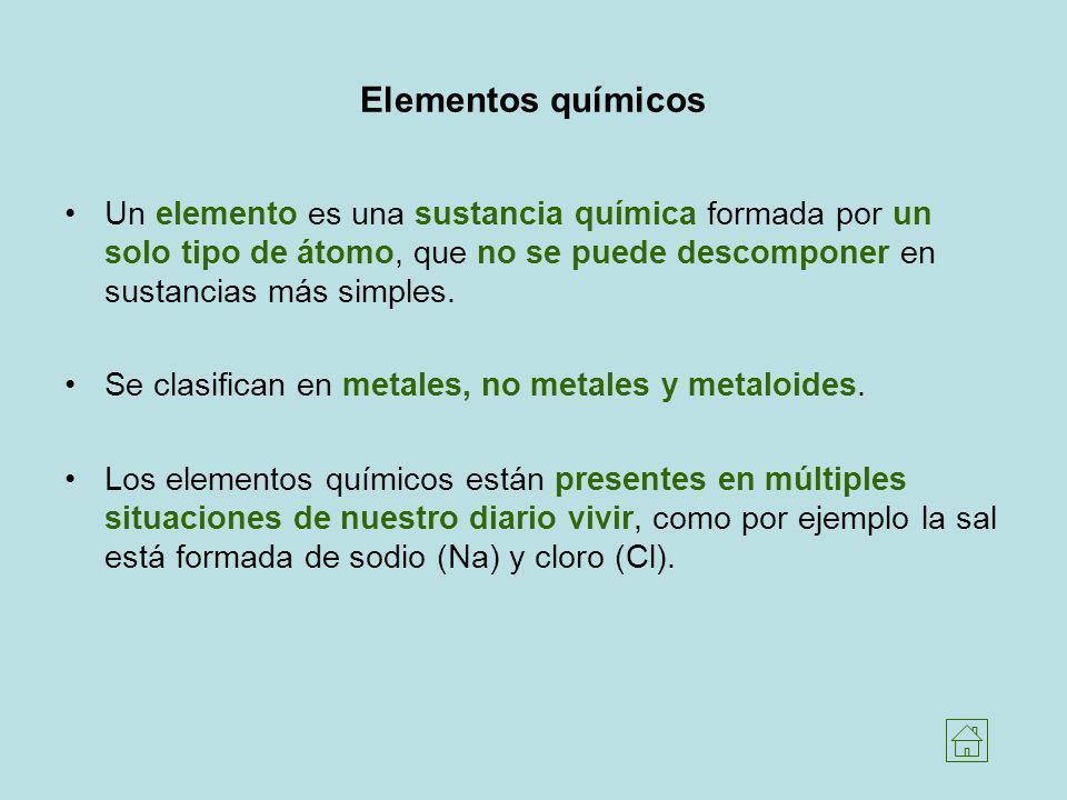 Elementos químicos Un elemento es una sustancia química formada por un solo tipo de átomo, que no se puede descomponer en sustancias más simples.