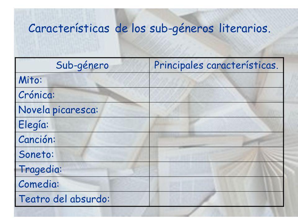 Características de los sub-géneros literarios.