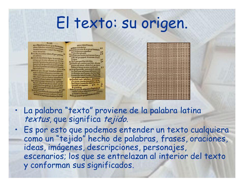 El texto: su origen. La palabra texto proviene de la palabra latina textus, que significa tejido.