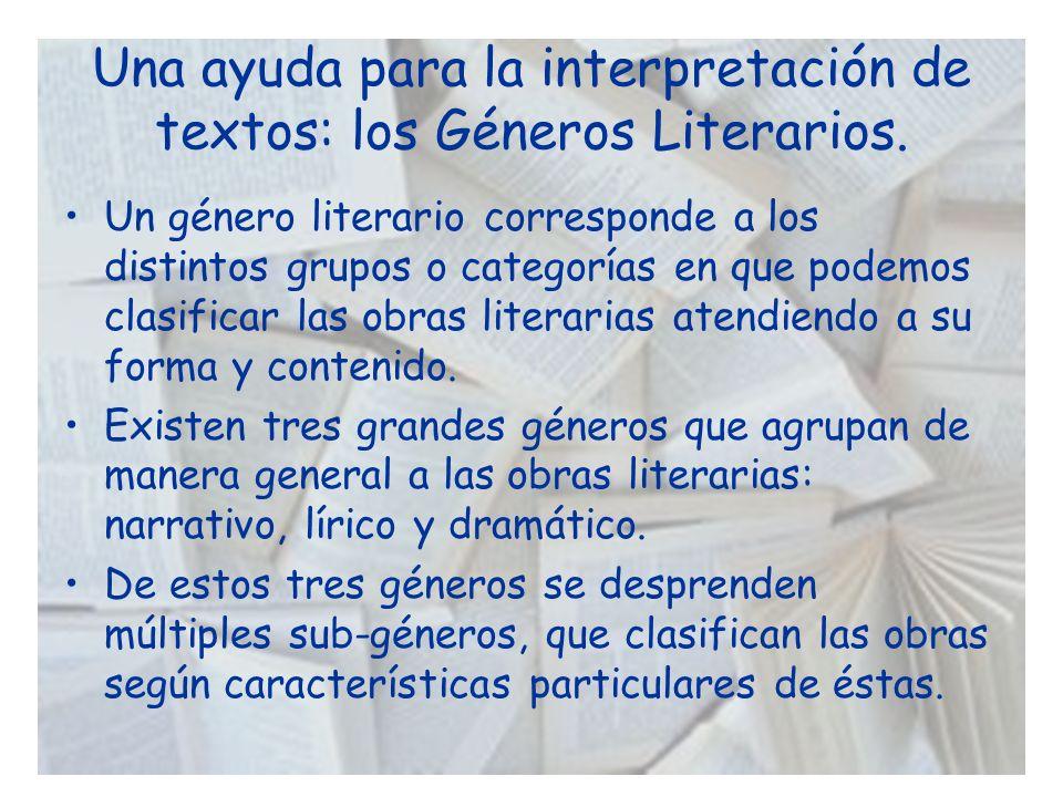 Una ayuda para la interpretación de textos: los Géneros Literarios.