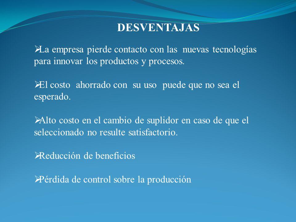 DESVENTAJAS La empresa pierde contacto con las nuevas tecnologías para innovar los productos y procesos.