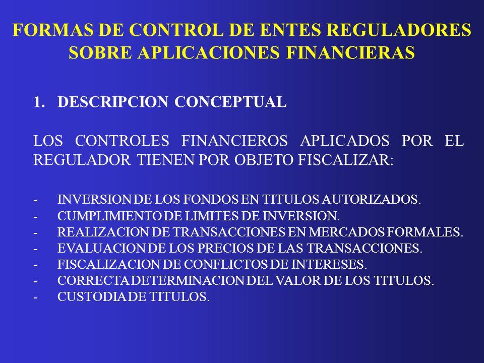FORMAS DE CONTROL DE ENTES REGULADORES SOBRE APLICACIONES FINANCIERAS