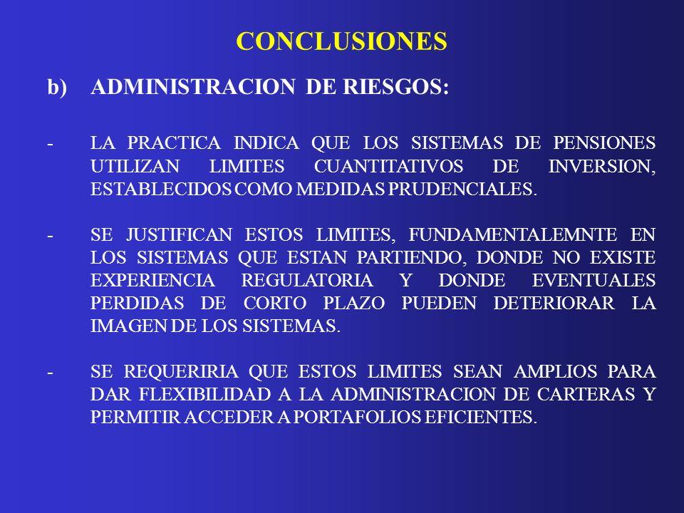 CONCLUSIONES b) ADMINISTRACION DE RIESGOS: