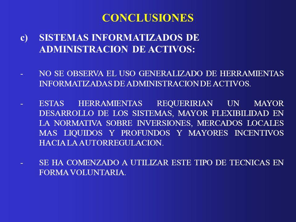 CONCLUSIONES c) SISTEMAS INFORMATIZADOS DE ADMINISTRACION DE ACTIVOS: