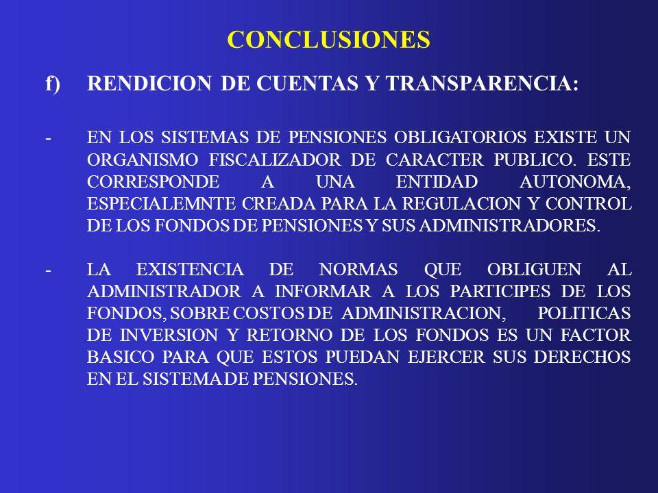 CONCLUSIONES f) RENDICION DE CUENTAS Y TRANSPARENCIA: