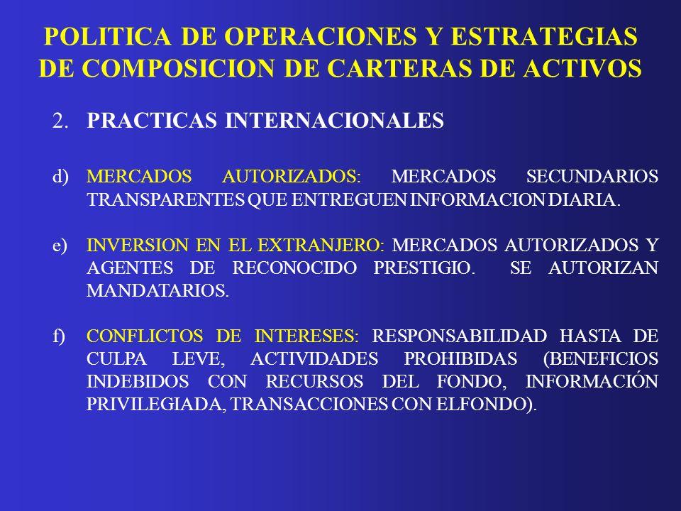 POLITICA DE OPERACIONES Y ESTRATEGIAS DE COMPOSICION DE CARTERAS DE ACTIVOS