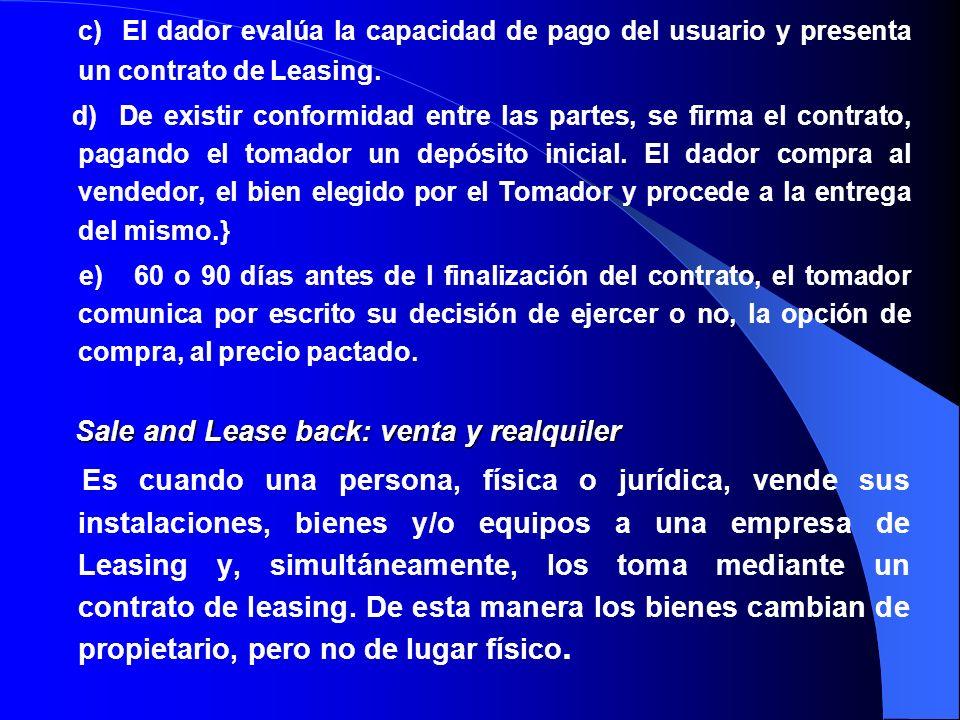 c) El dador evalúa la capacidad de pago del usuario y presenta un contrato de Leasing.