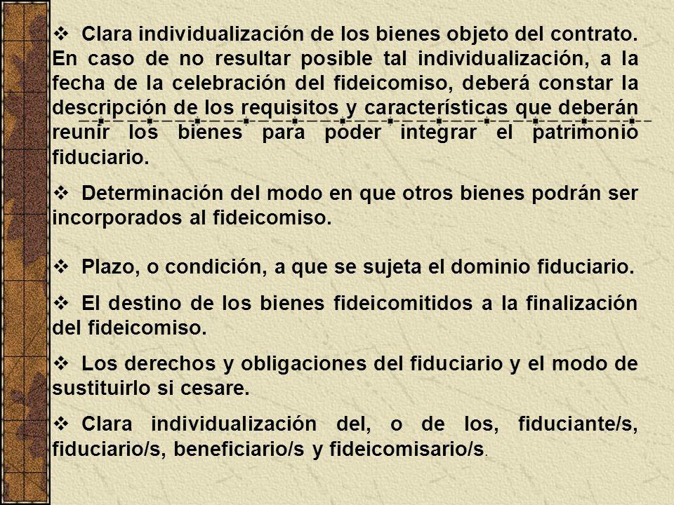 Clara individualización de los bienes objeto del contrato