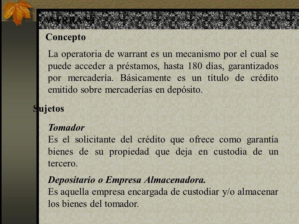 Depositario o Empresa Almacenadora.