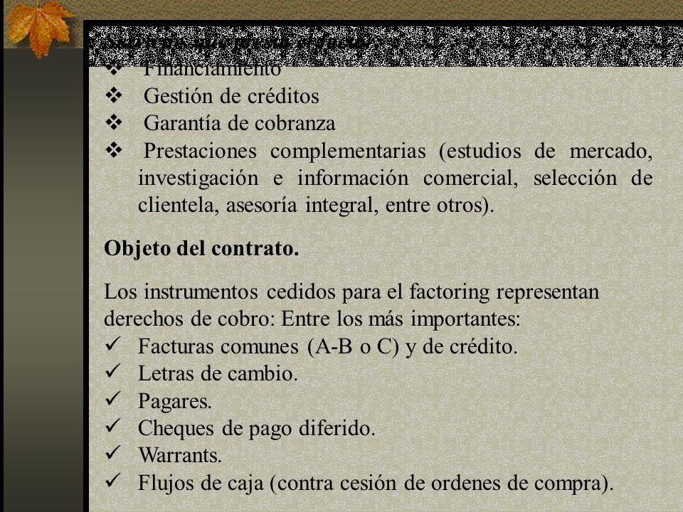 Servicios que presta el factor: Financiamiento Gestión de créditos