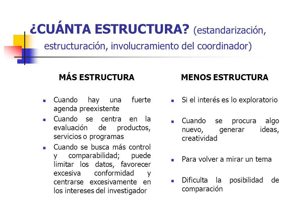 ¿CUÁNTA ESTRUCTURA (estandarización, estructuración, involucramiento del coordinador)
