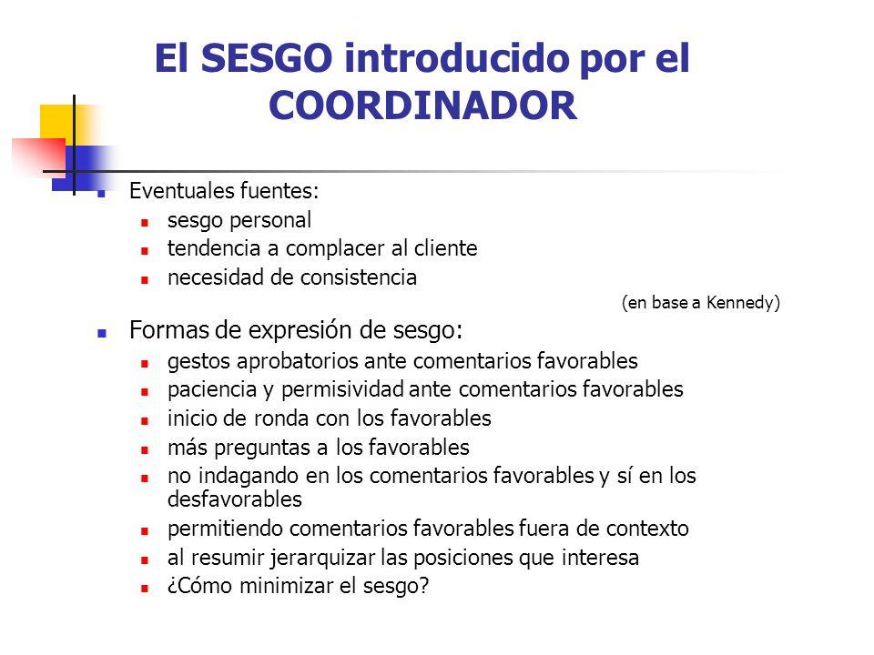El SESGO introducido por el COORDINADOR