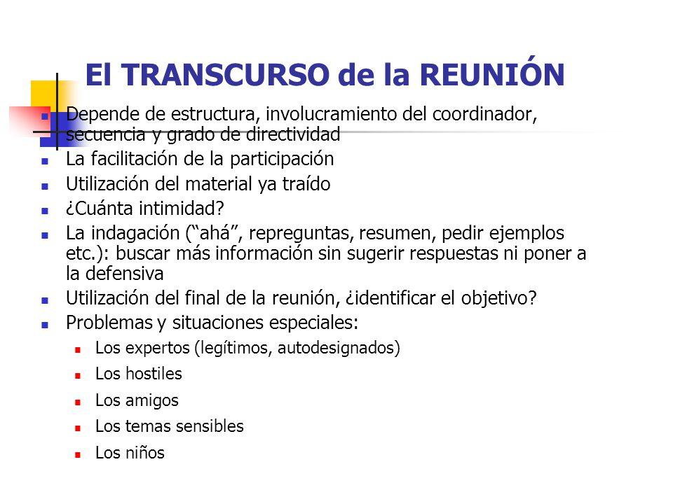 El TRANSCURSO de la REUNIÓN
