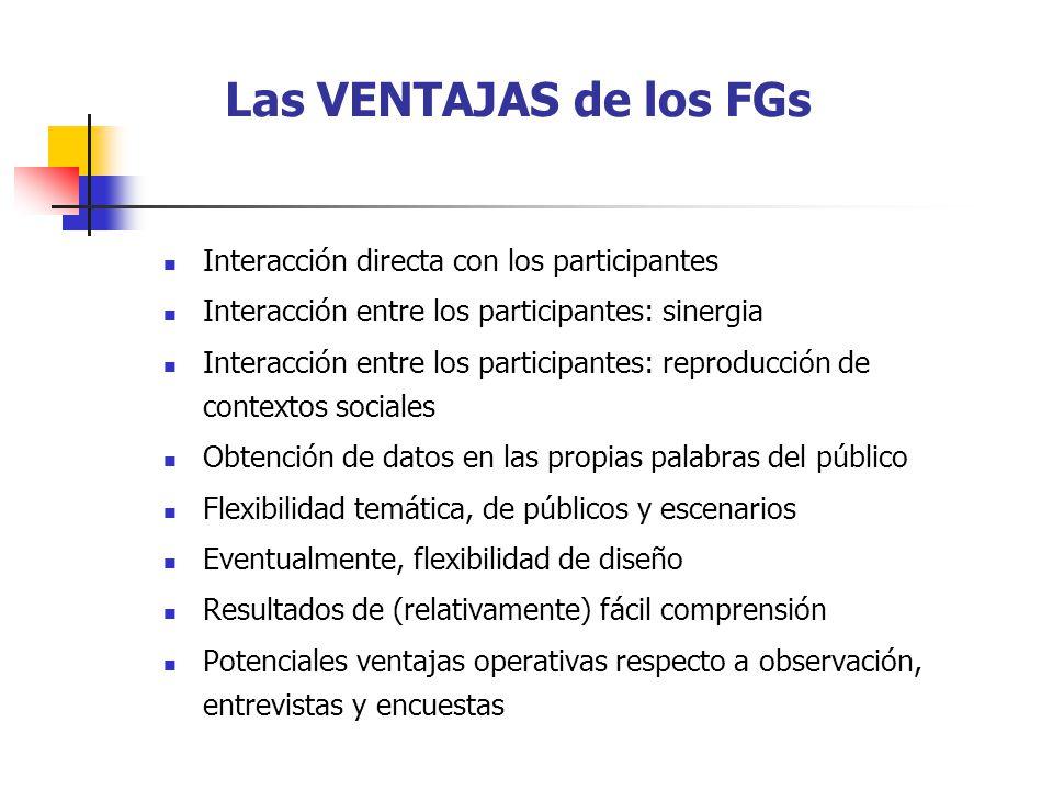 Las VENTAJAS de los FGs Interacción directa con los participantes