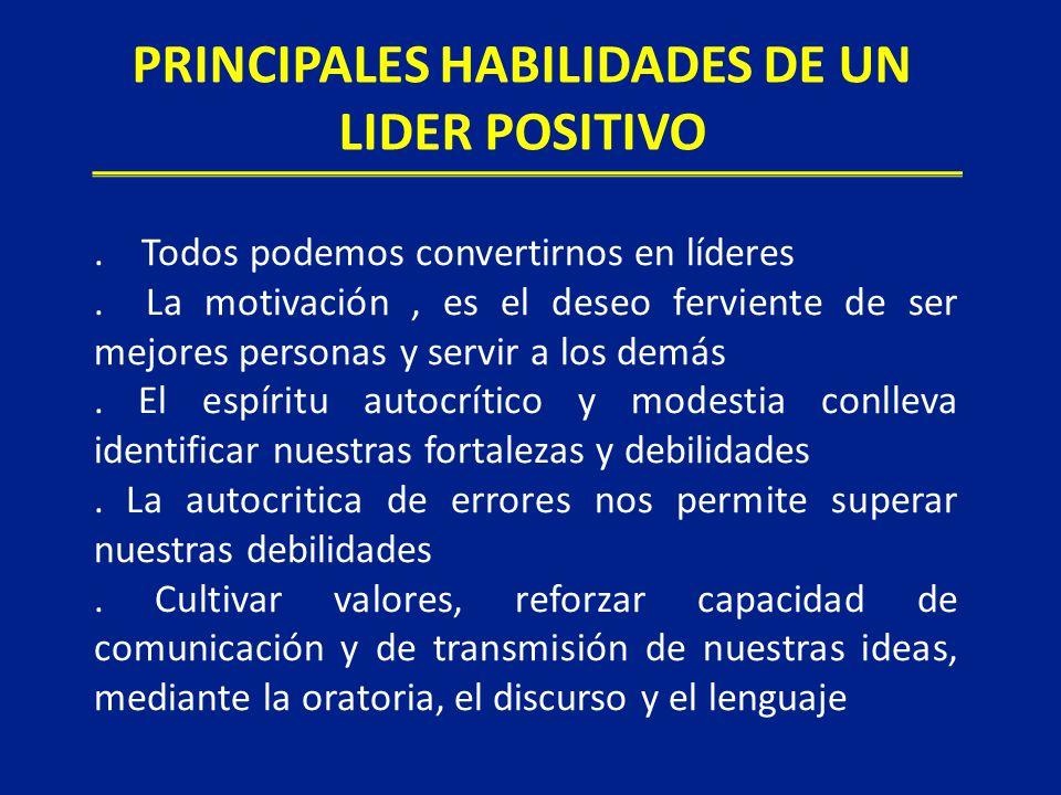 PRINCIPALES HABILIDADES DE UN LIDER POSITIVO