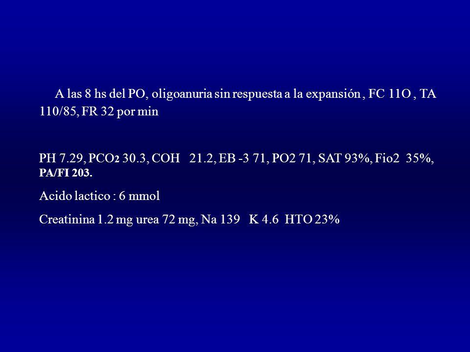 A las 8 hs del PO, oligoanuria sin respuesta a la expansión , FC 11O , TA 110/85, FR 32 por min