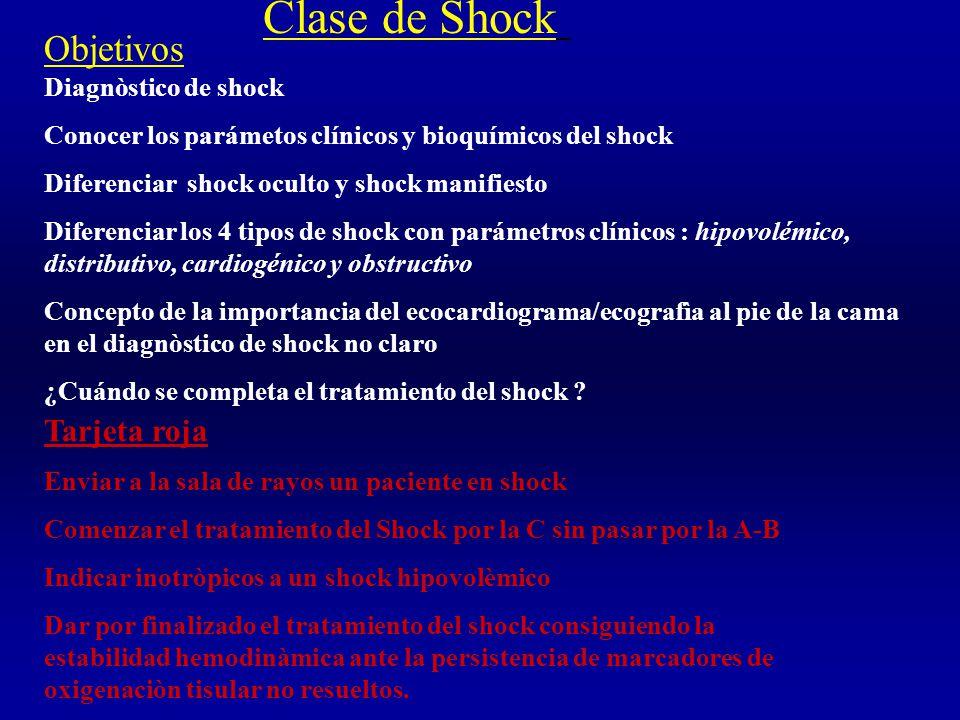 Clase de Shock Objetivos Tarjeta roja Diagnòstico de shock