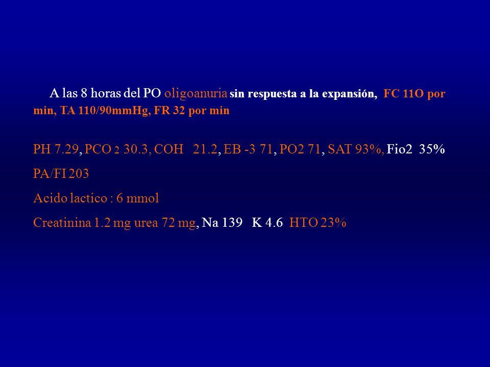 A las 8 horas del PO oligoanuria sin respuesta a la expansión, FC 11O por min, TA 110/90mmHg, FR 32 por min