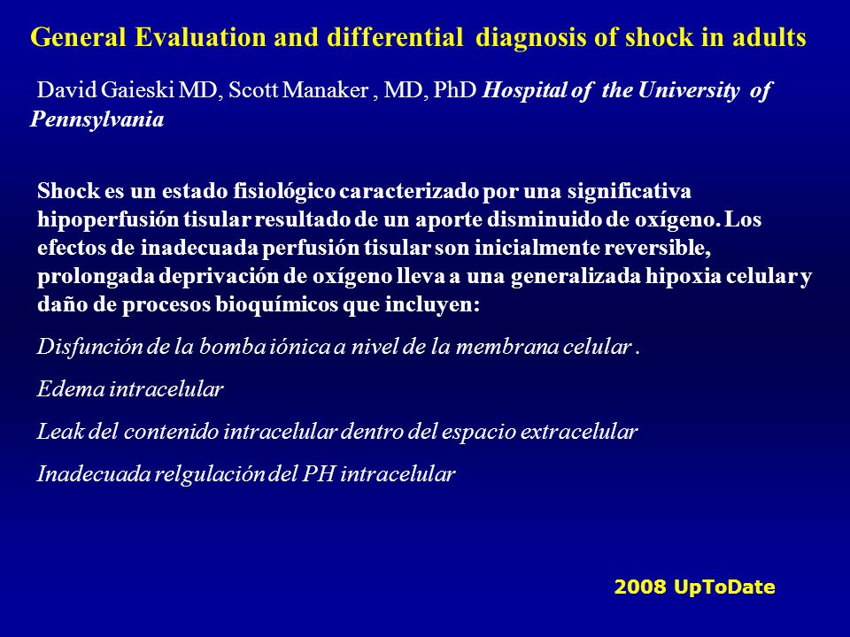 General Evaluation and differential diagnosis of shock in adults