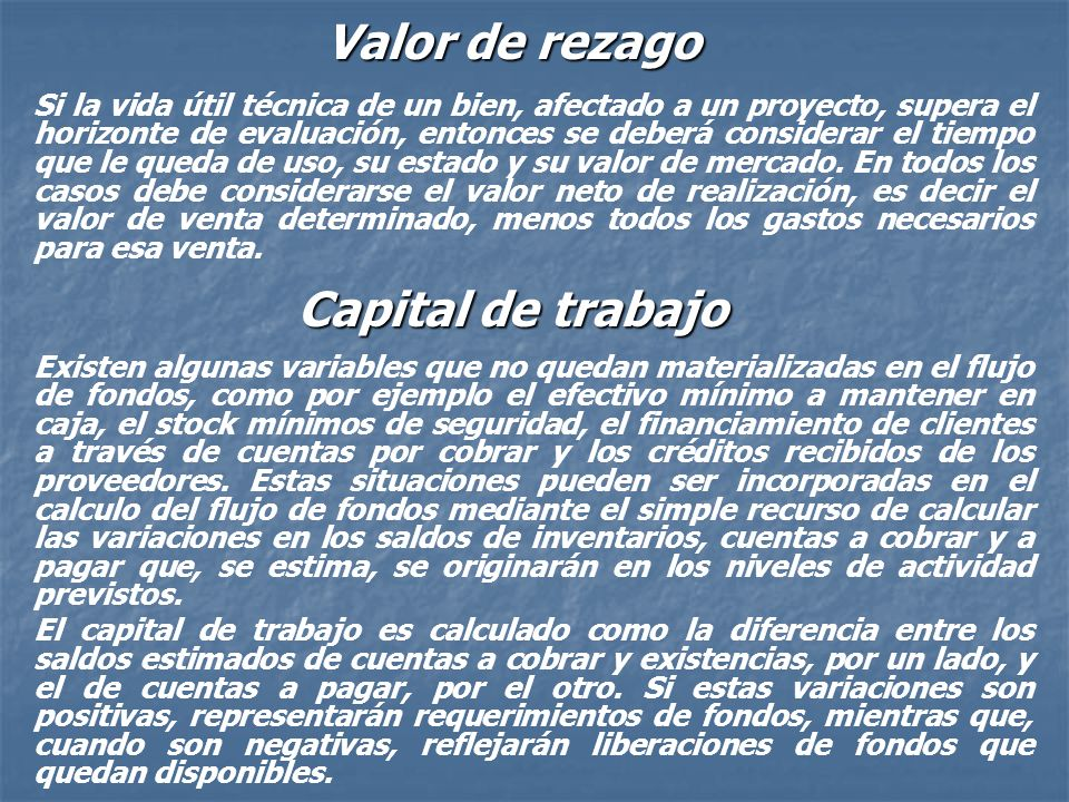 Valor de rezago Capital de trabajo