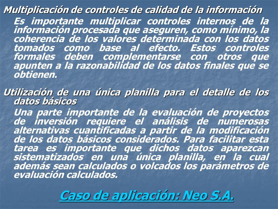Multiplicación de controles de calidad de la información