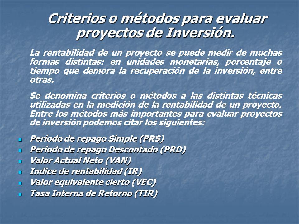 Criterios o métodos para evaluar proyectos de Inversión.