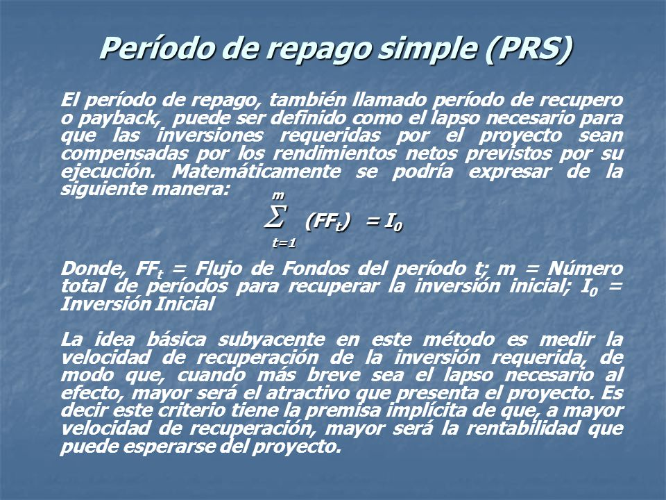 Período de repago simple (PRS)