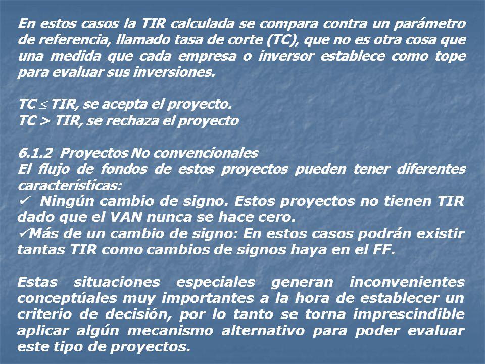 En estos casos la TIR calculada se compara contra un parámetro de referencia, llamado tasa de corte (TC), que no es otra cosa que una medida que cada empresa o inversor establece como tope para evaluar sus inversiones.
