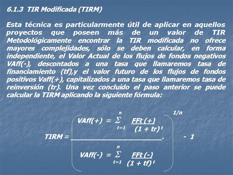 6.1.3 TIR Modificada (TIRM)