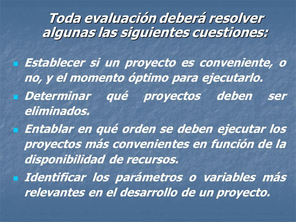 Toda evaluación deberá resolver algunas las siguientes cuestiones: