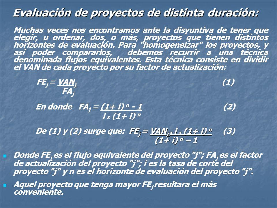 Evaluación de proyectos de distinta duración: