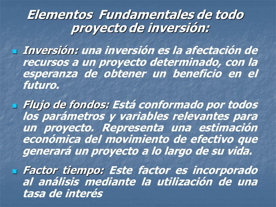 Elementos Fundamentales de todo proyecto de inversión: