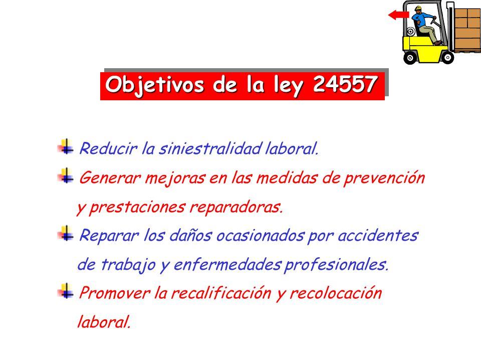 Objetivos de la ley 24557 Reducir la siniestralidad laboral.