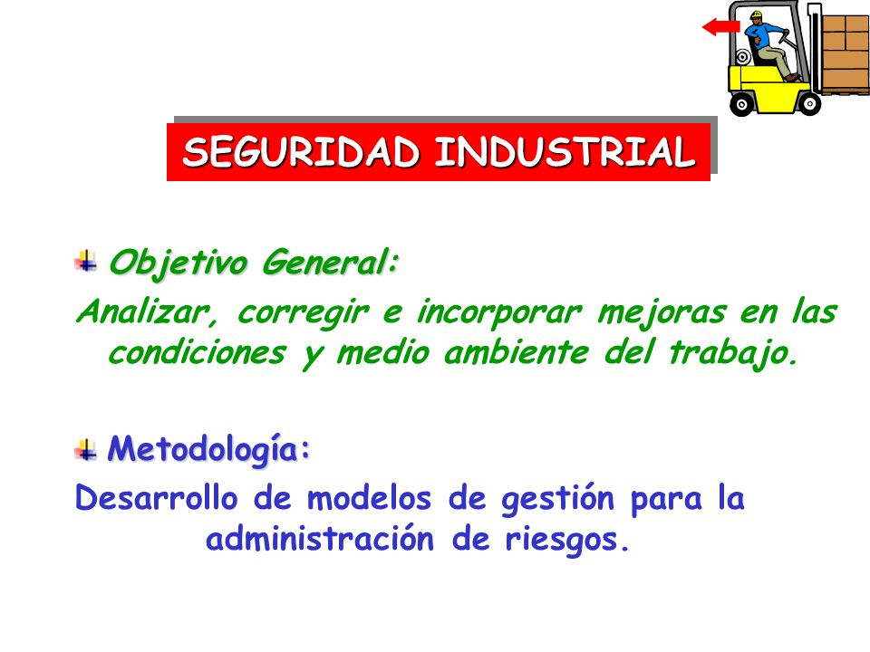 SEGURIDAD INDUSTRIAL Objetivo General: