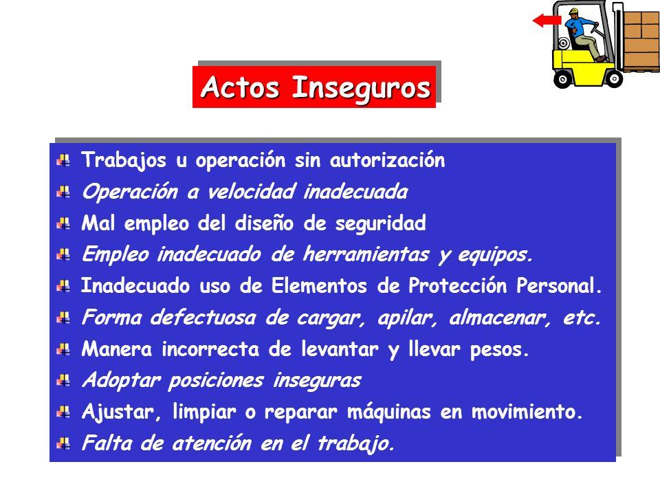 Actos Inseguros Trabajos u operación sin autorización