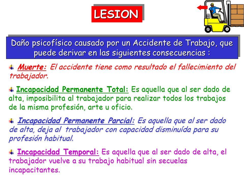 LESION Daño psicofísico causado por un Accidente de Trabajo, que puede derivar en las siguientes consecuencias :