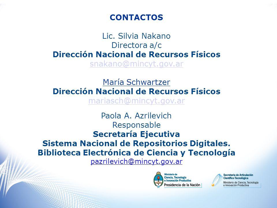 Dirección Nacional de Recursos Físicos snakano@mincyt.gov.ar