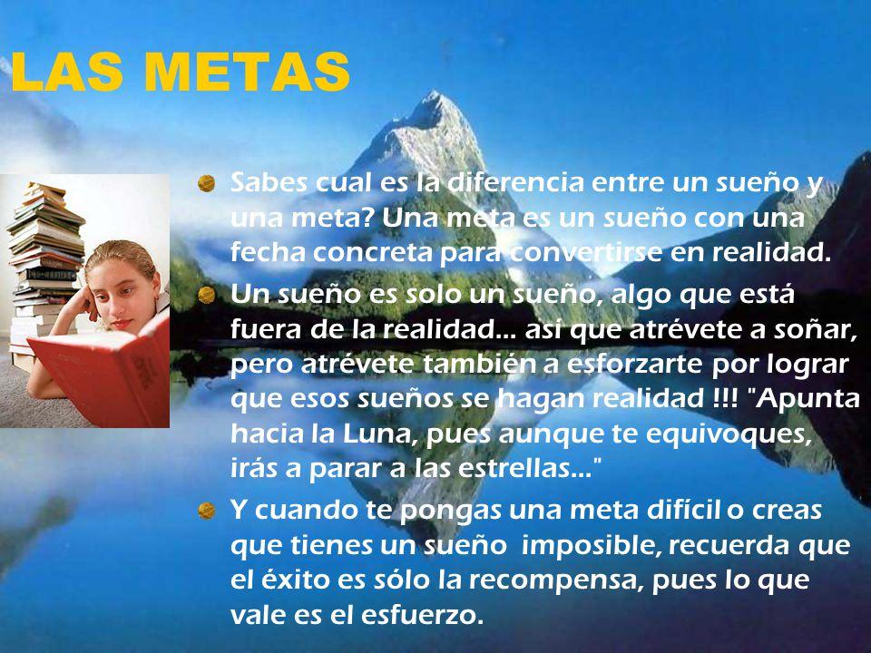 LAS METAS Sabes cual es la diferencia entre un sueño y una meta Una meta es un sueño con una fecha concreta para convertirse en realidad.