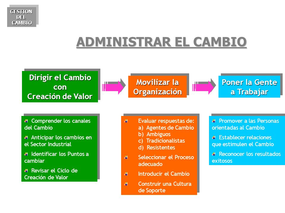 ADMINISTRAR EL CAMBIO Dirigir el Cambio con Creación de Valor