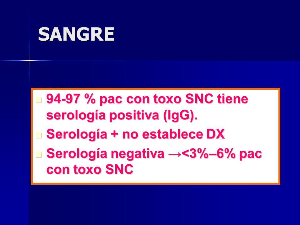 SANGRE 94-97 % pac con toxo SNC tiene serología positiva (IgG).