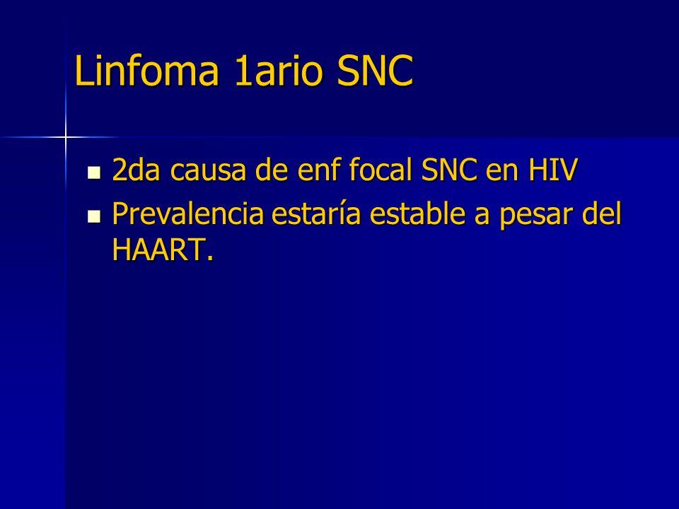 Linfoma 1ario SNC 2da causa de enf focal SNC en HIV