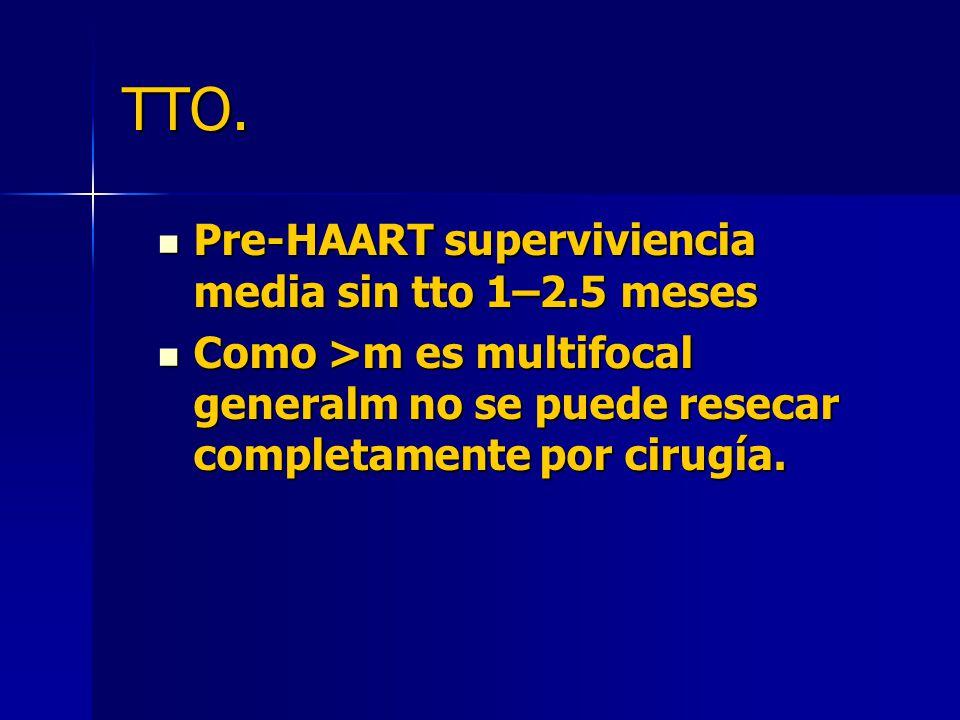 TTO. Pre-HAART superviviencia media sin tto 1–2.5 meses