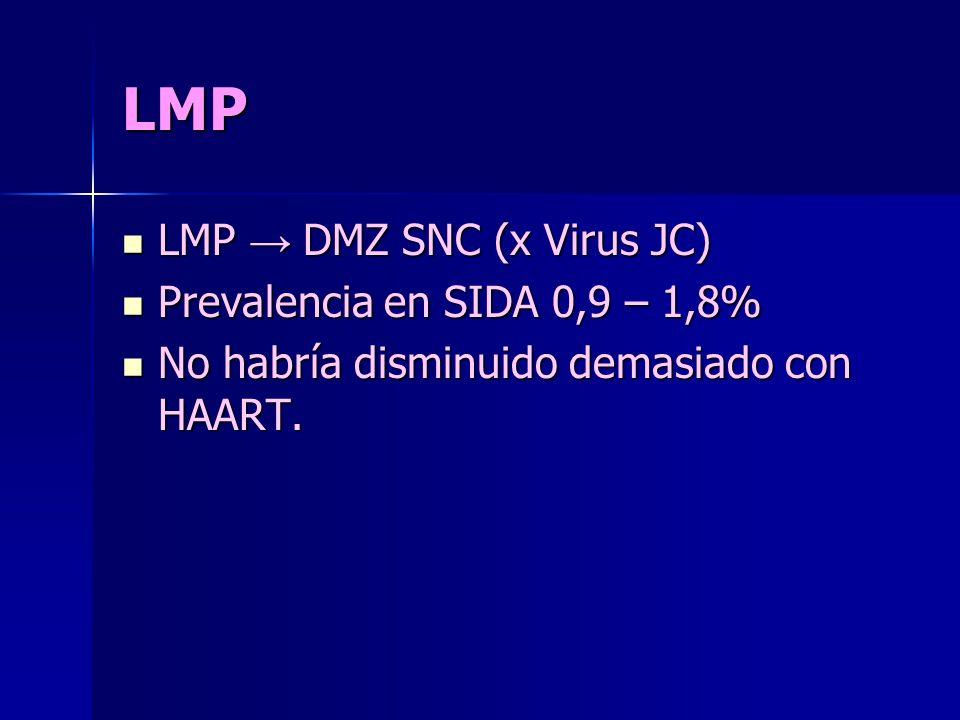 LMP LMP → DMZ SNC (x Virus JC) Prevalencia en SIDA 0,9 – 1,8%