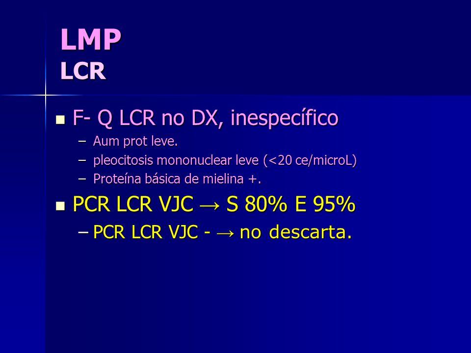 LMP LCR F- Q LCR no DX, inespecífico PCR LCR VJC → S 80% E 95%