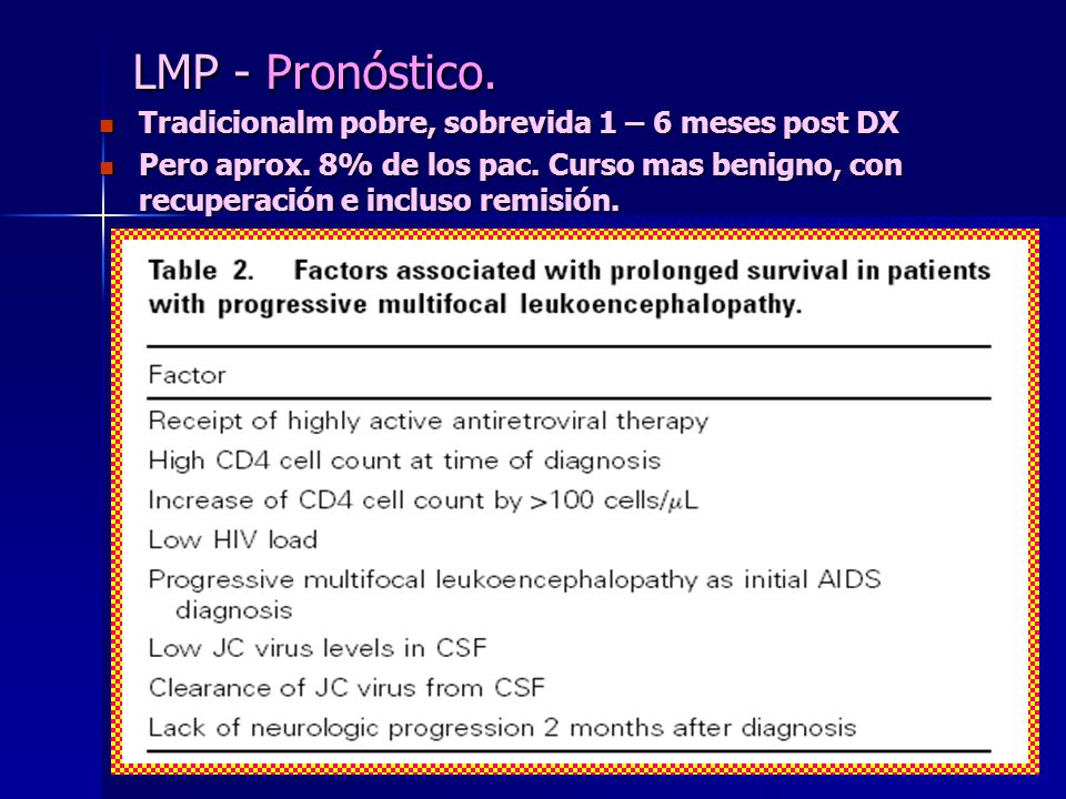 LMP - Pronóstico. Tradicionalm pobre, sobrevida 1 – 6 meses post DX