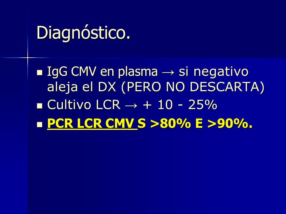 Diagnóstico. IgG CMV en plasma → si negativo aleja el DX (PERO NO DESCARTA) Cultivo LCR → + 10 - 25%